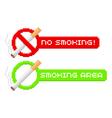 Pixel no smoking and smoking area signs vector