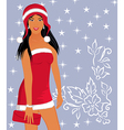 Christmas background with sexy lady - vector