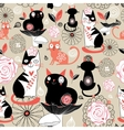 Floral pattern with cats vector