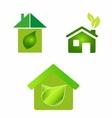 Green eco houses home logo icon vector