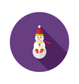 Christmas snowman with santa claus hat flat icon vector