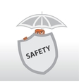 Security behind a shield and under the umbrella vector