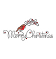 Merry christmas hand lettering with bullfinch vector