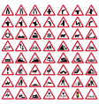 Road traffic warning signs vector