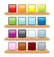 Icon on wood shelf display template design vector