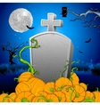 Pumpkin around tomb stone vector