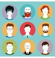 Colorful male faces circle icons set in trendy vector