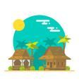 Flat design of beach bungalows vector