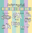 Supermarket doodle colorful vector