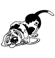 Cartoon basset hound black white vector