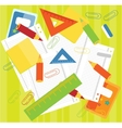 Crayons rulers papers vector