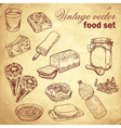 Vintage hand-drawn food set vector