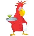 Funny parrot waiter vector