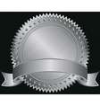 Silver blank label with silver ribbon vector