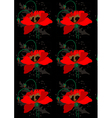 Poppies on a black seamless background vector