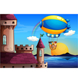 A floating balloon with kids going to the castle vector