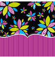 Black background with color flowers vector