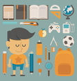 Student and tool flat design vector