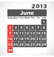 Calendar 2013 june vector