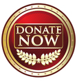 Donate now red label vector
