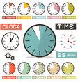 Clock set in flat design style vector