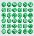 Flat icons social media round green set vector