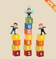 Cartoon businessman stand on risk block - - vector