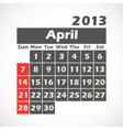 Calendar 2013 april vector