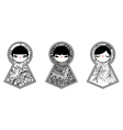 Three geometric babushka matryoshka dolls vector
