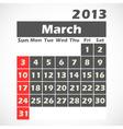 Calendar 2013 march vector