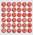 Flat icons social media round red set vector