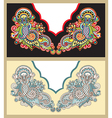 Neckline embroidery fashion ukrainian traditional vector