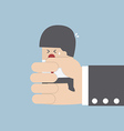 Businessman squeezed by boss hand vector