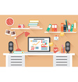Home office desk - flat design long shadow work vector