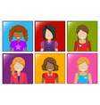 A frame with faceless girls vector
