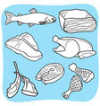 Meat fish and poultry vector