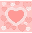 Old lace background pink card with hearts vector