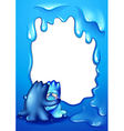 A blue border design with two monsters comforting vector