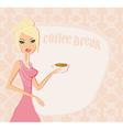 Beautiful lady drinking coffee card vector