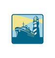 Passenger ship cargo boat lighthouse retro vector
