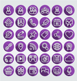 Flat icons social network round purple set vector