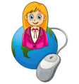 A young businesswoman above the globe vector