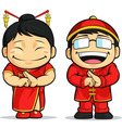 Cartoon of chinese boy girl vector