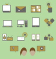 Media and communication color icons on green vector