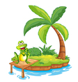 An island with a frog above the wooden bridge vector