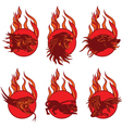 Fire animal emblems vector