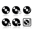 Vinyl record dj icons set vector