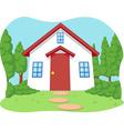 Cartoon of cute little house with garden vector