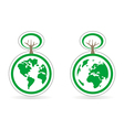 Ecology button icon or logo with earth and tree vector
