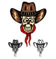 Skull cowboy color vector